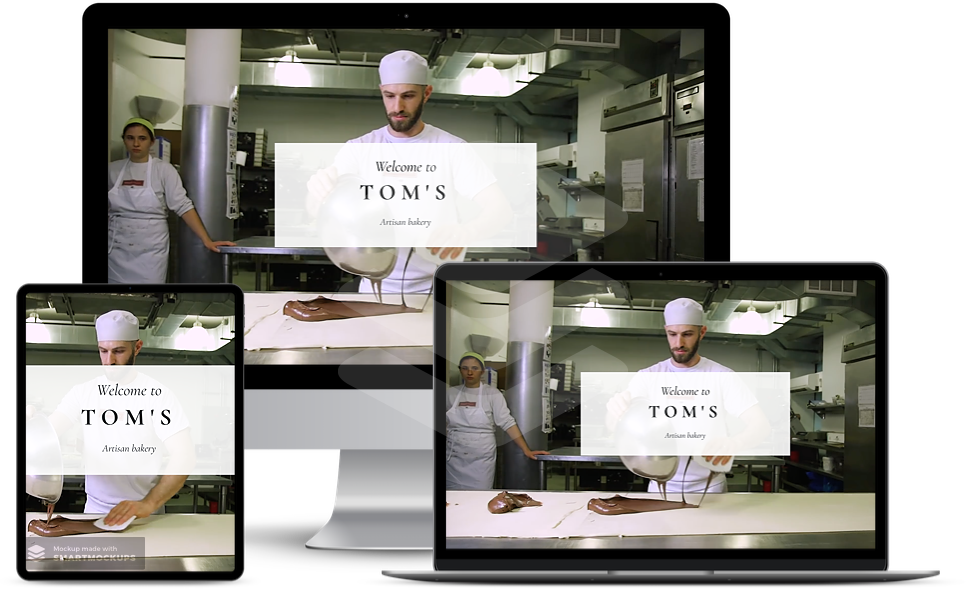 web design surrey affordable three different screens showing bakers website