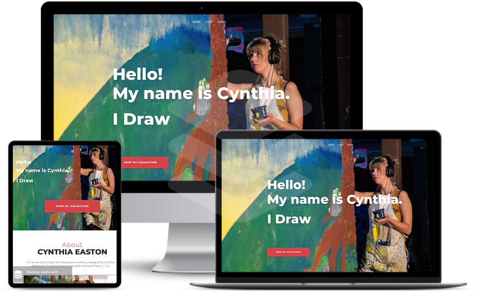 web design surrey affordable artists website on three different screens