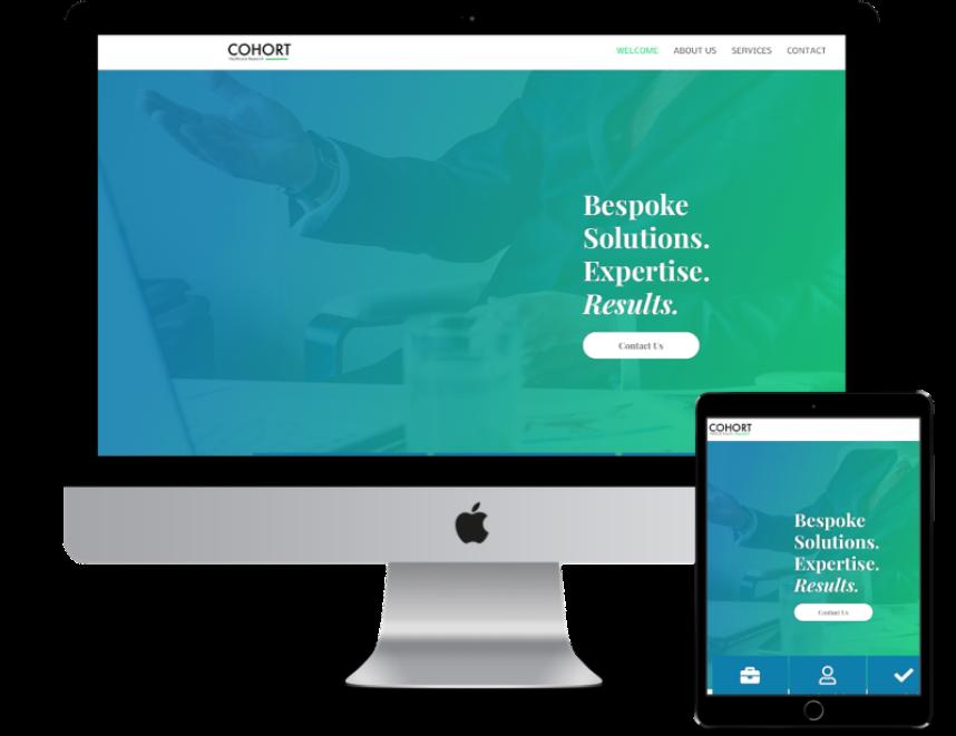 cohort's new website screen shot created by Surrey Web Studio
